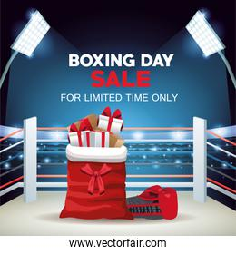boxing day sale poster with santa claus bag and gifts