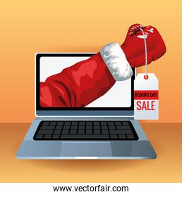 boxing day sale poster with laptop and glove