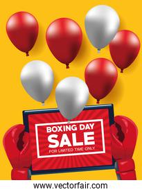 boxing day sale poster with tablet and balloons helium