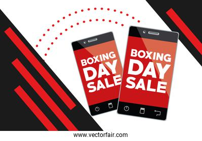 boxing day sale poster with smartphones