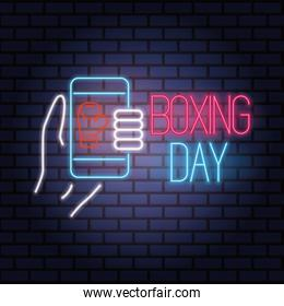 boxing day sale neon lights with smartphone