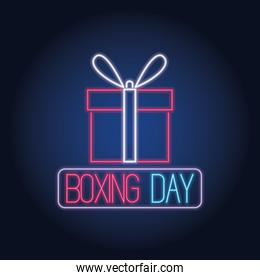 boxing day sale neon lights with gift