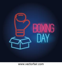 boxing day sale neon lights with box and glove