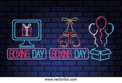 boxing day sale neon lights with set icons