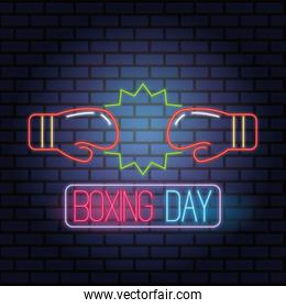 boxing day sale neon lights with gloves