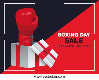 boxing day sale poster with glove in gift