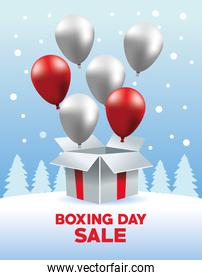 boxing day sale poster with balloons helium in giftbox