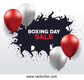 boxing day sale poster with balloons helium floating