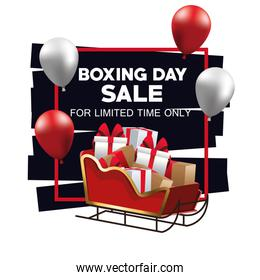 boxing day sale poster with santa sled and balloons helium