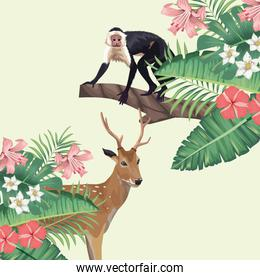 wild reindeer and monkey with tropical foliage
