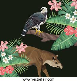 wild tapir and eagle with tropical leafs