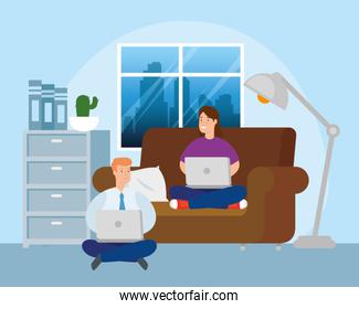 scene of couple working in telecommuting