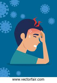 man with headache and particles of 2019 ncov