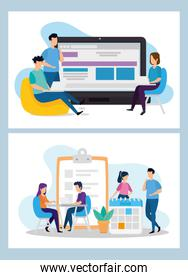 set scenes of coworking with icons