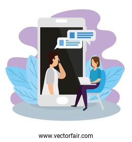 couple in video conference with smartphone and laptop