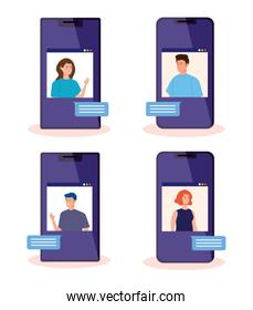 people in video conference in smartphones