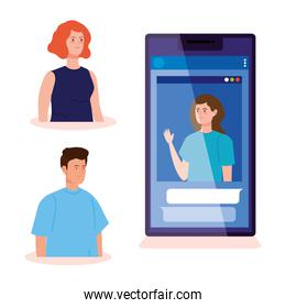 group people in video conference in smartphone