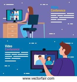 scenes of young people in video conference