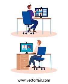 men in workplaces in video conference