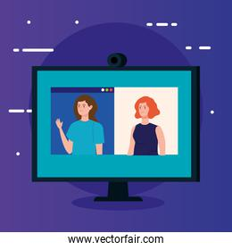 women in video conference in screen