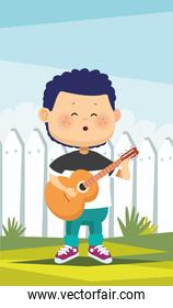 happy little boy playing guitar in the camp character