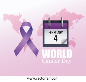 world cancer day poster with calendar and ribbon