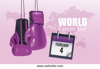 world cancer day poster with boxing gloves and calendar