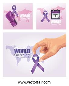 world cancer day set poster icons