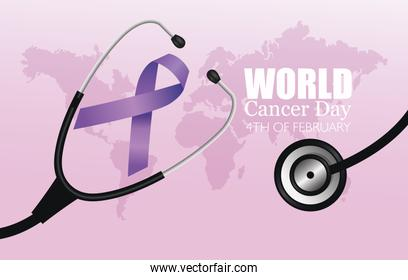 world cancer day poster with stethoscope and ribbon