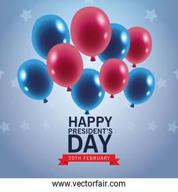 happy presidents day poster with balloons helium