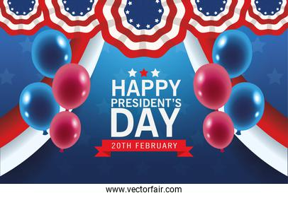 happy presidents day poster with usa flag and balloons helium