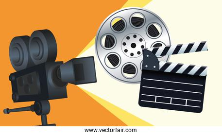 cinema entertainment with clapperboard and camera