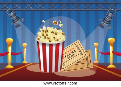 cinema entertainment with pop corn and tickets