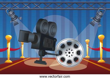 card of cinema entertainment with reel and camera