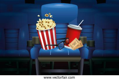 cinema entertainment with pop corn and soda