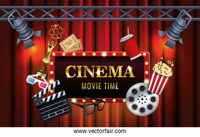 cinema entertainment with display and set icons scene