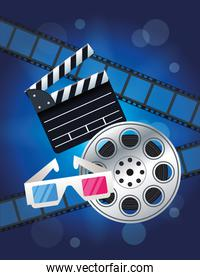 cinema entertainment with reel and clapperboard