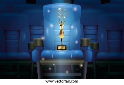 cinema entertainment with chair and trophy