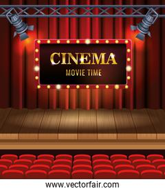 cinema entertainment with chairs and display scene