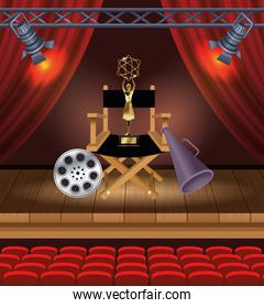 cinema entertainment with director chair and trophy