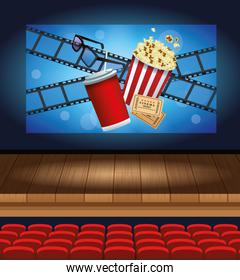 cinema entertainment with soda and pop corn
