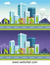 buildings and solar panels cityscape scenes