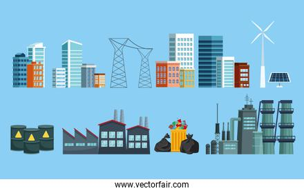 city and polluting industry set icons