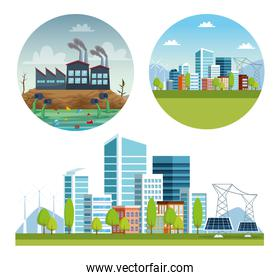 ecology city and industry pollution scenes