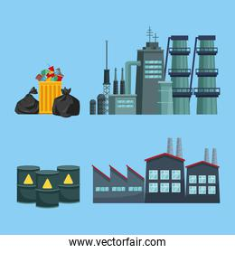 chimeny and factory polluting with garbage and barrels