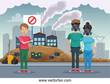 people with mask protection pollution