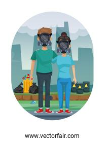 couple with mask protection pollution