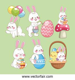 happy easter card with rabbits group