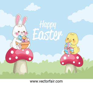 happy easter card with rabbit and chick in fungus