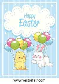happy easter card with rabbit and chick in balloons helium